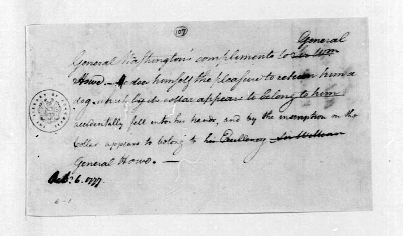 Washington note to Howe about his dog